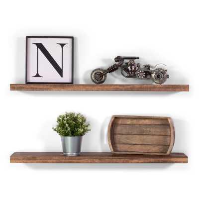 Bridgecliff Solid Walnut 2 Piece Floating Shelf Set - Wayfair