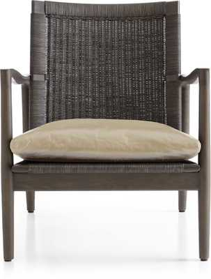 Sebago Chair with Leather Cushion- Mushroom - Crate and Barrel