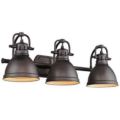 "Duncan 24 1/2"" Wide Rubbed Bronze 3-Light Bath Light - Lamps Plus"