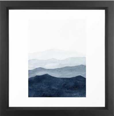 Indigo Abstract Watercolor Mountains Framed Art Print by Chipi Art Studio - Society6