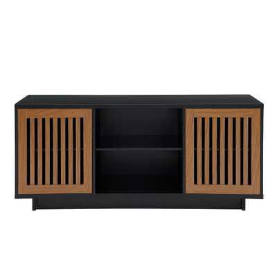 56 in. Solid Black/Acorn Vertical Slat Door Console - Home Depot