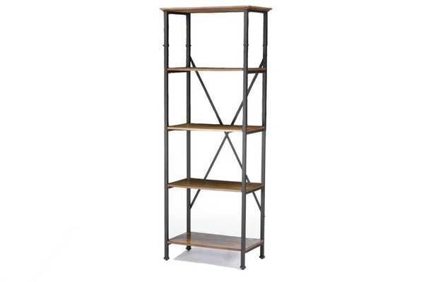 BAXTON STUDIO LANCASHIRE BROWN WOOD & METAL BOOKCASE - Lark Interiors
