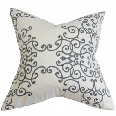 "Fianna Floral Pillow White Gray - 18"" x 18"" - Down Insert - Linen & Seam"