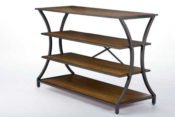 BAXTON STUDIO LANCASHIRE BROWN WOOD & METAL CONSOLE TABLE - Lark Interiors