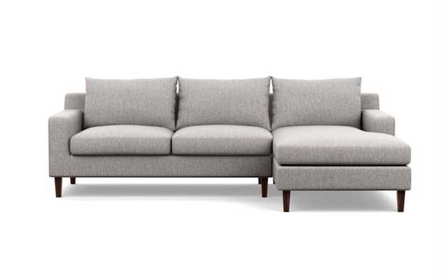 SLOAN Sectional Sofa with Right Chaise- Earth Cross Weave- 96'' Long-  Oiled Walnut Tapered Square Wood - Interior Define
