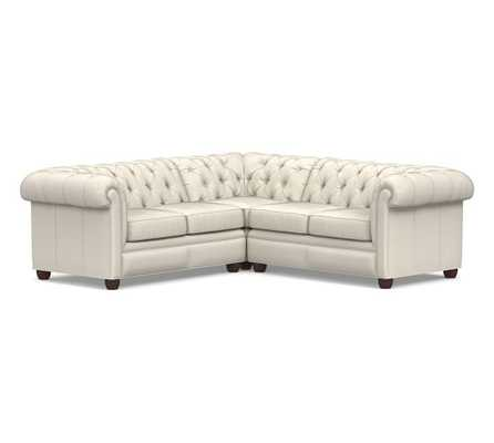 Chesterfield Roll Arm Leather 3-Piece L-Shaped Corner Sectional Polyester Wrapped Cushions, Signature Whiskey - Pottery Barn
