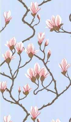 Magnolia - Pale Blue Wallpaper - Kravet