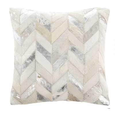 Key Metallic Cowhide Leather Throw Pillow - AllModern
