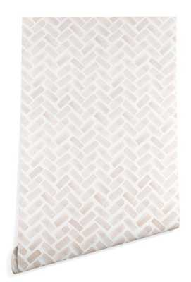 ARCADIA HERRINGBONE IN BLUSH Wallpaper - Wander Print Co.
