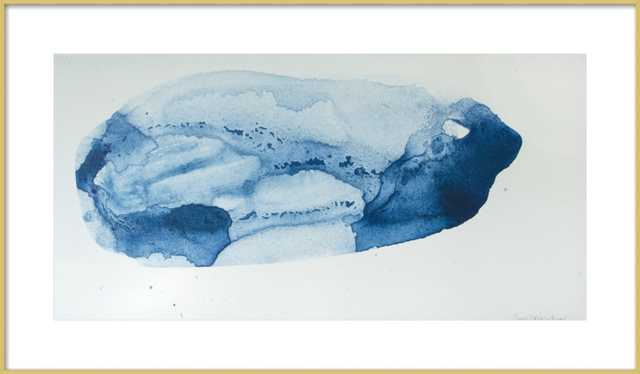 Blue World - 36 x 20 - Contemporary - Frosted Gold Frame - Artfully Walls