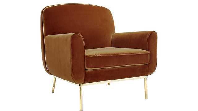 halo copper velvet armchair - CB2