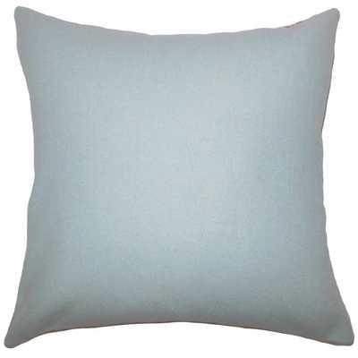 "Eire Solid Pillow Blue - 18"" x 18"" - Poly Insert - Linen & Seam"