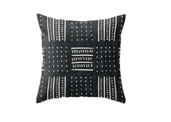 Mud cloth in black and white Throw Pillow - Society6