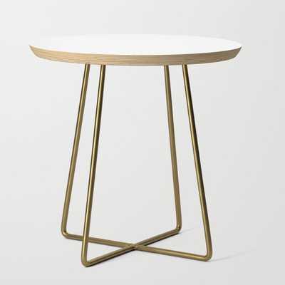 Side Table - Basics - Round White / Brass Legs - Society6