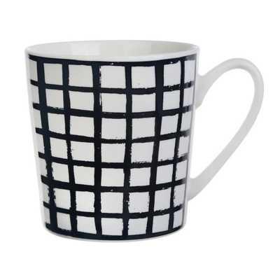 Formations Grid Pattern Black and White Flare Mug - Bed Bath & Beyond