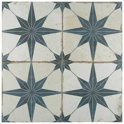 Merola Tile Kings Star Blue Encaustic 17-5/8 in. x 17-5/8 in. Ceramic Floor and Wall Tile (33 cases / 366.3 sq. ft. / pallet), Off White And Blue/Low Sheen - Home Depot