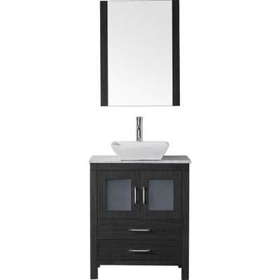 Dior 29 in. W Bath Vanity in Zebra Gray with Marble Vanity Top in White with Square Basin and Mirror and Faucet - Home Depot