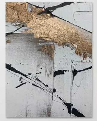 Still: an abstract mixed media piece in black, white, and gold by Alyssa Hamilton Art Canvas Print - Society6