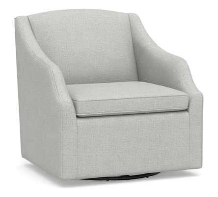SoMa Emma Upholstered Swivel Armchair, Polyester Wrapped Cushions, Basketweave Slub Oatmeal - Pottery Barn