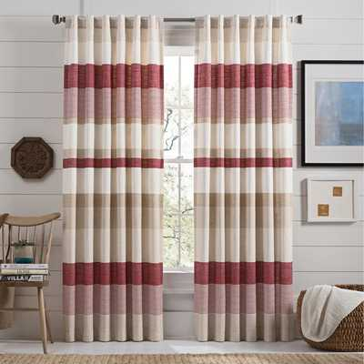 Bern 84-Inch Rod Pocket Window Curtain Panel Pair in Red - Bed Bath & Beyond