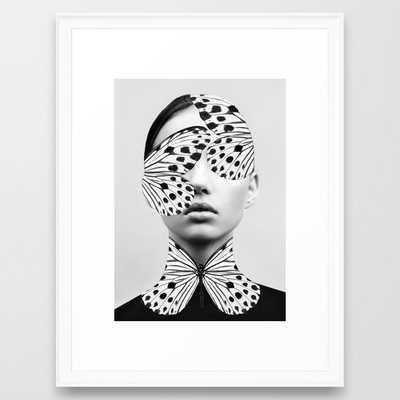 Woman Butterfly Framed Art Print- Vector Black 20x26 - Society6