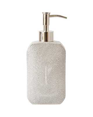FAUX SHAGREEN BATH LOTION DISPENSER, GRAY - McGee & Co.