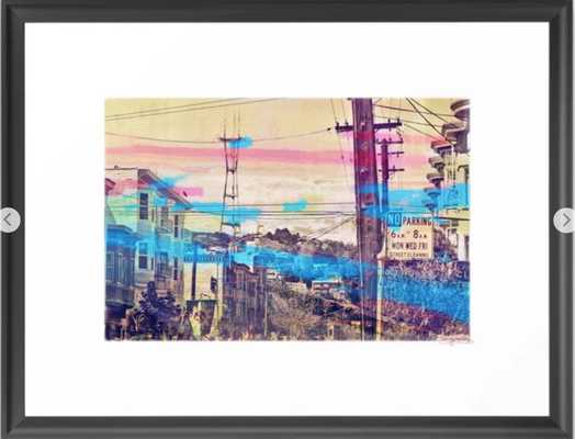 San Fran-See-Peaks - Sutro tower on Stereoid in the mission district, San Francisco Framed Art Print - Society6