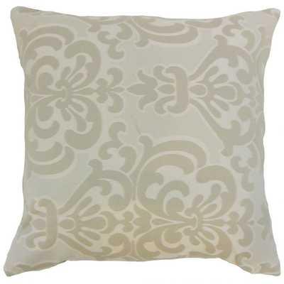 Sarane Damask Pillow Ivory, Down Fill - Linen & Seam