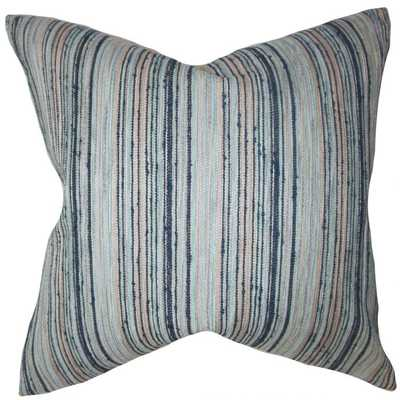 "Bartram Stripes Pillow Blue Brown-18""x18""-down Insert - Linen & Seam"