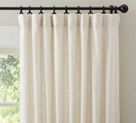 "Emery Linen Poletop Drape, 50 x 96"", Ivory, Cotton Lining - Pottery Barn"