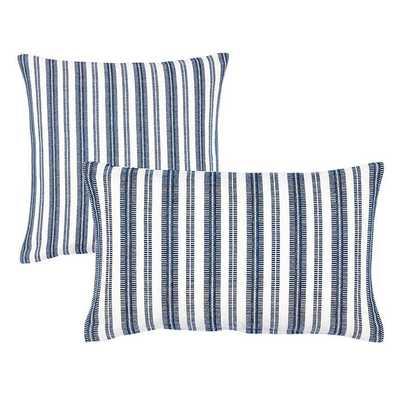 """Ballard Designs Noir Textured Woven Pillow Covers  12"""" x 20""""- Textured Stripe - Indigo - Ballard Designs"""