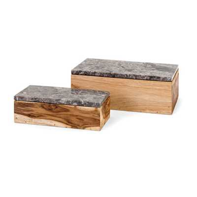 Napoleon Wood Boxes - Set of 2 - Mercer Collection