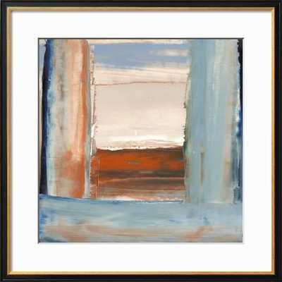 "ORANGE & BLUE I By Sharon Gordon- 30"" x 30"" Premium Giclee Print- Coventry Black 1.25"" Frame- Crisp - Bright White 3.5"" Mat- Standard Acrylic - art.com"