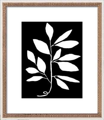 """Branch Framed Artwork - 10"""" x 12"""" - Distressed Cream Double Bead Wood Frame - With Matte - Artfully Walls"""