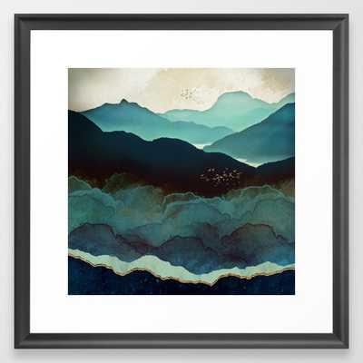 Indigo Mountains Framed Art Print 22x22 - Society6