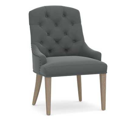 Lorraine Upholstered Tufted Chair with Natural Frame - Slate - Pottery Barn
