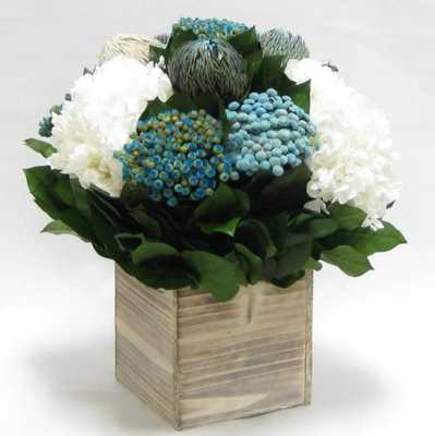Mixed Floral Centerpiece in Wooden Cube Container - Wayfair