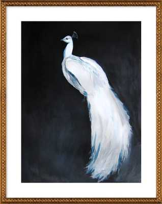 White Peacock II, 28x36, Gold Crackle Bead Wood Frame with Matte - Artfully Walls