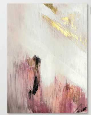 Sunrise [2]: a bright, colorful abstract piece in pink, gold, black,and white Canvas Print - Society6