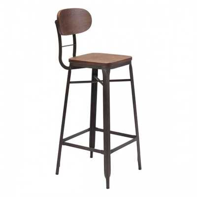 Broadway Bar Chair Brown & Antique Blk, Set of 2 - Zuri Studios