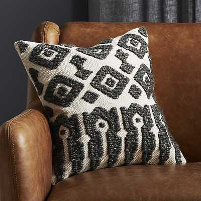 "16"" calisto grey and white feather down pillow - CB2"