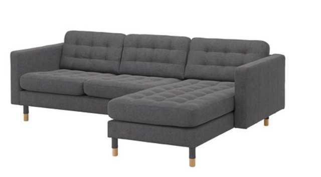 LANDSKRONA Sofa, with chaise, Gunnared dark gray/wood - Ikea