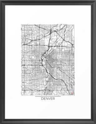 Denver Map White Framed Art Print - Scoop Black Frame - Society6