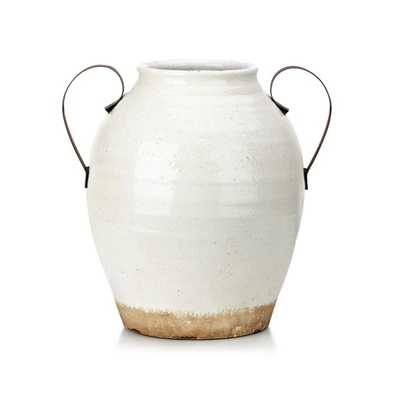 TY Nightingale Oversized Ceramic Vase with Metal Handle - Mercer Collection