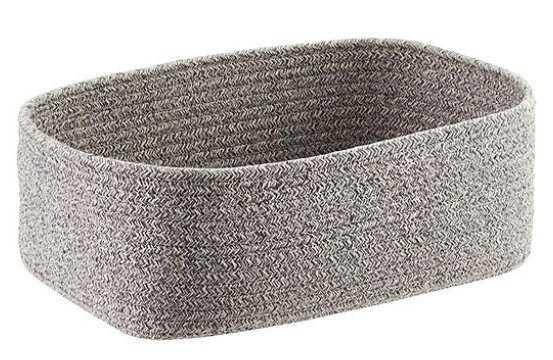 Small Laguna Cotton Fabric Bin Grey/White - containerstore.com