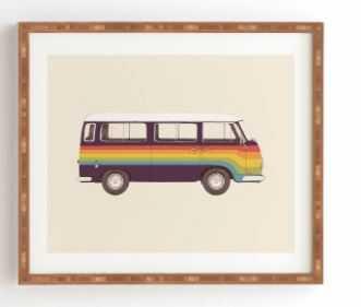 VAN RAINBOW VINTAGE, framed art print - Wander Print Co.