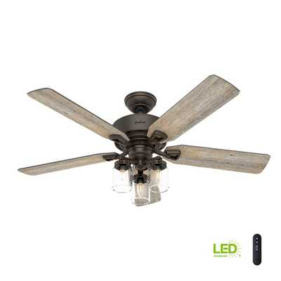 Devon Park 52 in. Indoor Onyx Bengal Ceiling Fan with Light Kit and Handheld Remote Control - Home Depot