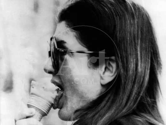 Jacqueline Kennedy Onassis Licks Ice Cream Cone While Shopping in Portofino, Italy, Jun 14, 1971 - 24x32 - art.com