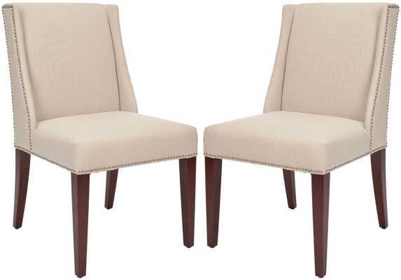Rachel 21''H Arm Chair - Silver Nail Head - Taupe/Cherry Mahogany - Arlo Home - Arlo Home