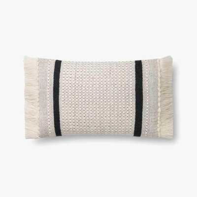 """P1128 Mh Ivory / Black - 13"""" x 21"""" - poly filled - Loma Threads"""